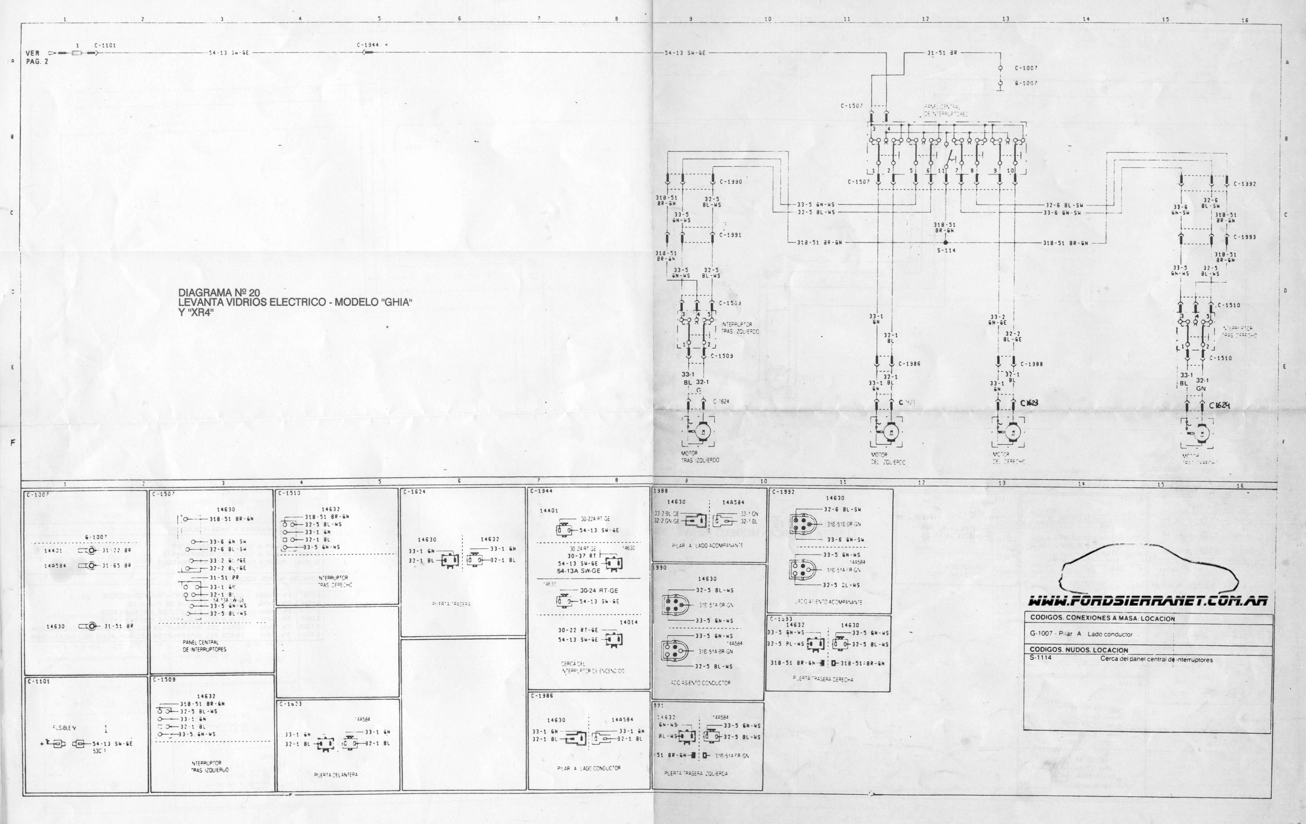 Circuito Levanta Vidrios Electricos : Diagramas electricos
